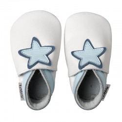 Bobux Soft Sole Baby Star Leather Shoe in White - 4076
