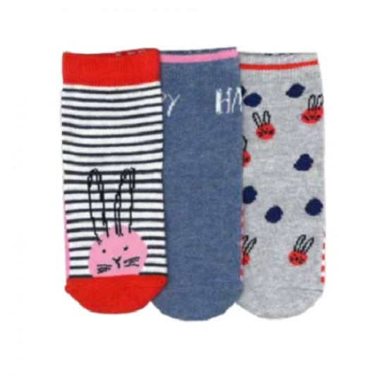 Columbine Red Pink and Blue Bunny Face- 3 pack Socks