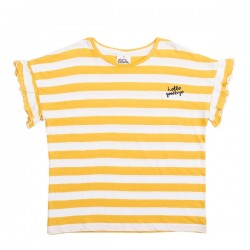 Eve Girl  |  Hello Goodbye Tee Yellow and White Stripe