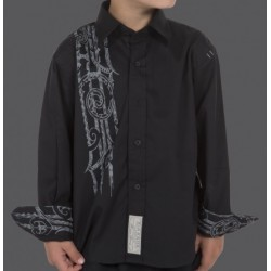 Kia Kaha Boys Dress Shirt  |   Harakeke  in Black