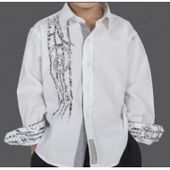 Kia Kaha Boys Dress Shirt  |  Harakeke  in White