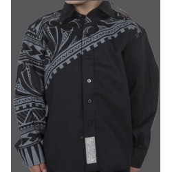 Kia Kaha Boys Dress Shirt  |   Waka in Black