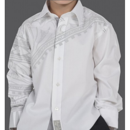 Kia Kaha Boys Dress Shirt  |  Waka in White