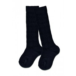 Lamington Cable Knee High Merino Socks | Navy  ***  4-6y  ***