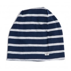 Steezie Merino Kids Slouchy Beanie - Two-tone Blue Stripe