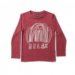 Minti Relax Long Sleeve Tee  - Red Motley     ***  Size 2 y  ***