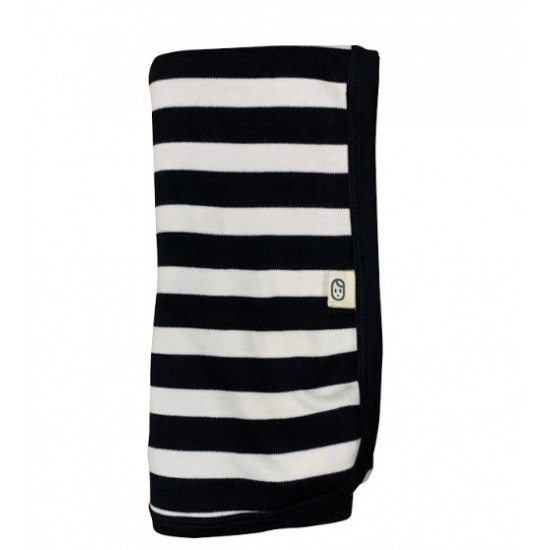 Pureborn Organic Cotton Black Stripe Blanket/Wrap